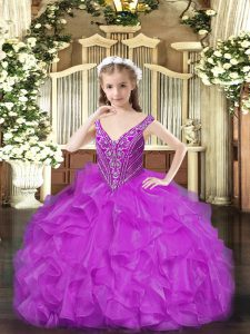 Floor Length Purple Little Girls Pageant Gowns V-neck Sleeveless Lace Up