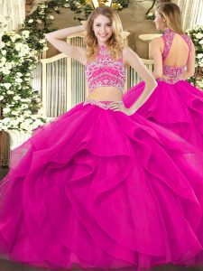 Tulle High-neck Sleeveless Backless Beading and Ruffles Quinceanera Gowns in Fuchsia