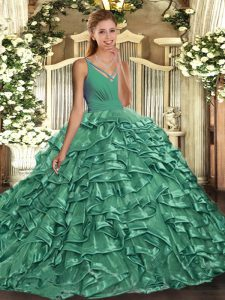 Delicate Ball Gowns Quinceanera Gown Green V-neck Taffeta Sleeveless Floor Length Backless