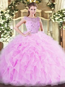 Popular Lilac Sleeveless Floor Length Beading and Ruffles Zipper Vestidos de Quinceanera