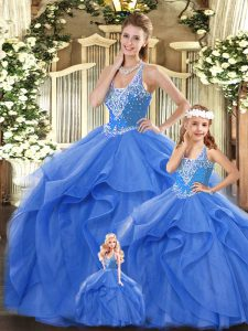 Adorable Blue Sleeveless Floor Length Beading and Ruffles Lace Up 15th Birthday Dress