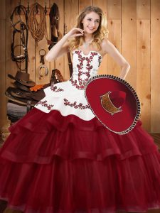 Burgundy Sleeveless Embroidery and Ruffled Layers Lace Up Vestidos de Quinceanera