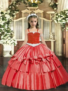Floor Length Coral Red Evening Gowns Organza Sleeveless Appliques and Ruffled Layers