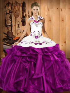 Eggplant Purple Sleeveless Organza Lace Up Quince Ball Gowns for Military Ball and Sweet 16 and Quinceanera