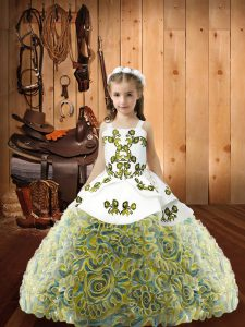 Fabric With Rolling Flowers Straps Sleeveless Lace Up Embroidery Child Pageant Dress in Multi-color