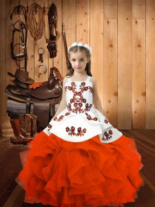 Excellent Sleeveless Organza Floor Length Lace Up Pageant Gowns For Girls in Orange Red with Embroidery