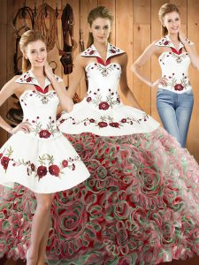 Fabric With Rolling Flowers Sleeveless Vestidos de Quinceanera Sweep Train and Embroidery
