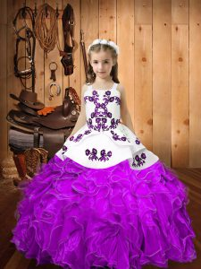 Graceful Straps Sleeveless Little Girls Pageant Gowns Floor Length Embroidery and Ruffles Eggplant Purple Organza