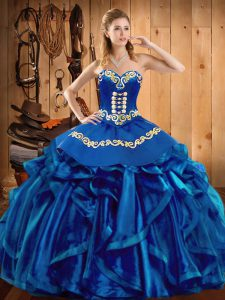 Blue Sleeveless Embroidery and Ruffles Floor Length Sweet 16 Dresses