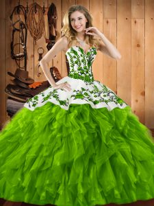 Fantastic Sweetheart Lace Up Embroidery and Ruffles Quinceanera Dresses Sleeveless