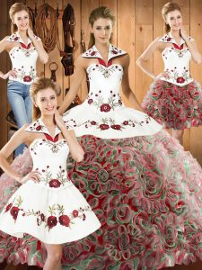 Decent Sleeveless Sweep Train Embroidery Lace Up Quinceanera Dress