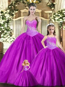 Vintage Floor Length Purple 15th Birthday Dress Tulle Sleeveless Beading and Ruching