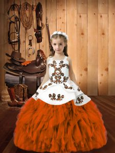 Cheap Sleeveless Lace Up Floor Length Embroidery and Ruffles Little Girls Pageant Dress
