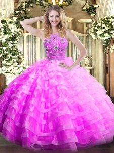 Lilac Sleeveless Floor Length Ruffled Layers Zipper Ball Gown Prom Dress