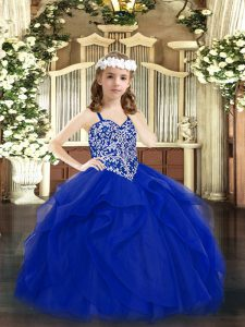 Affordable Sleeveless Lace Up Floor Length Beading and Ruffles Winning Pageant Gowns