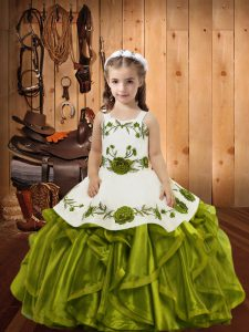 Great Olive Green Straps Neckline Embroidery and Ruffles Child Pageant Dress Sleeveless Lace Up