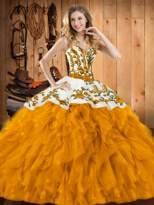 Beautiful Gold Sleeveless Satin and Organza Lace Up Quinceanera Dresses for Military Ball and Sweet 16 and Quinceanera