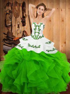 Modern Floor Length Ball Gowns Sleeveless Green Sweet 16 Quinceanera Dress Lace Up