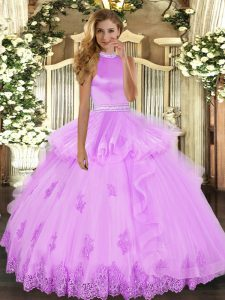 Glamorous Lilac Ball Gowns Beading and Ruffles Quinceanera Gowns Backless Tulle Sleeveless Floor Length