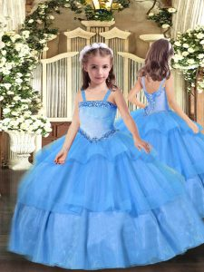 Hot Sale Floor Length Lace Up Little Girl Pageant Dress Baby Blue for Party and Quinceanera with Appliques