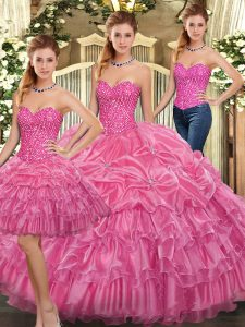 Trendy Rose Pink Sleeveless Organza Lace Up Ball Gown Prom Dress for Military Ball and Sweet 16 and Quinceanera