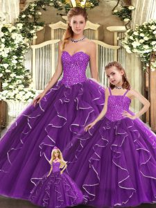 Top Selling Sleeveless Floor Length Beading and Ruffles Lace Up 15 Quinceanera Dress with Purple