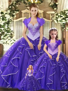 Spectacular Purple Scoop Neckline Beading and Ruffles Ball Gown Prom Dress Sleeveless Lace Up