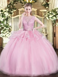 Fashion Baby Pink Ball Gowns Organza Scoop Sleeveless Lace Floor Length Backless Quinceanera Dress