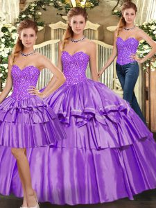 Beading and Ruffled Layers Quince Ball Gowns Eggplant Purple Lace Up Sleeveless Floor Length