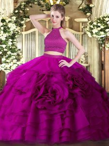 Halter Top Sleeveless Tulle Quinceanera Dresses Beading and Ruffles Backless