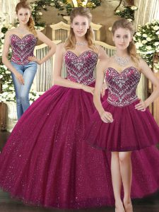Comfortable Fuchsia Sleeveless Floor Length Beading Lace Up 15 Quinceanera Dress