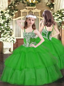 Eye-catching Floor Length Green Little Girl Pageant Gowns Straps Sleeveless Lace Up