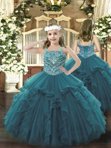 On Sale Teal Straps Neckline Beading and Ruffles Kids Formal Wear Sleeveless Lace Up