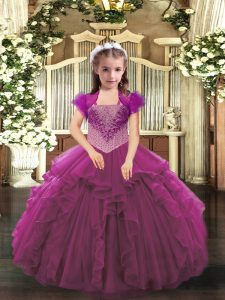 Floor Length Fuchsia Kids Pageant Dress Organza Sleeveless Beading and Ruffles