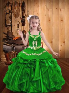 Floor Length Ball Gowns Sleeveless Green Little Girls Pageant Dress Wholesale Lace Up