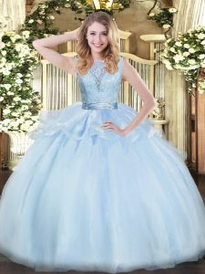 Extravagant Scoop Sleeveless Organza Quince Ball Gowns Lace Backless