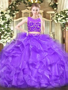Extravagant Scoop Sleeveless Tulle Quince Ball Gowns Beading and Ruffles Zipper