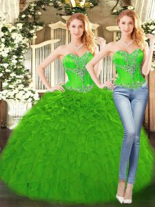 Cute Floor Length Green 15 Quinceanera Dress Sweetheart Sleeveless Lace Up
