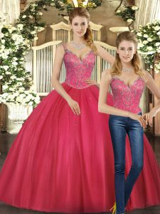 Straps Sleeveless Lace Up Quinceanera Dresses Hot Pink Tulle