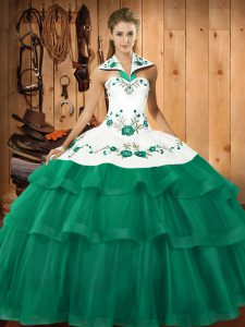 Embroidery and Ruffled Layers 15th Birthday Dress Turquoise Lace Up Sleeveless Sweep Train