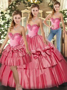 Romantic Watermelon Red Sleeveless Organza Lace Up Quinceanera Gown for Military Ball and Sweet 16 and Quinceanera