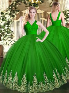 Ball Gowns Sweet 16 Quinceanera Dress Green V-neck Tulle Sleeveless Floor Length Zipper