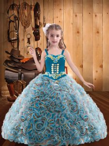 Pretty Multi-color Little Girl Pageant Gowns Sweet 16 and Quinceanera with Embroidery and Ruffles Straps Sleeveless Lace Up