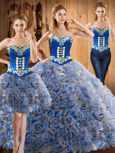 Affordable Sleeveless With Train Embroidery Lace Up Quinceanera Gown with Multi-color Sweep Train