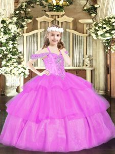 Ball Gowns Pageant Dress Womens Lilac Off The Shoulder Organza Sleeveless Floor Length Lace Up