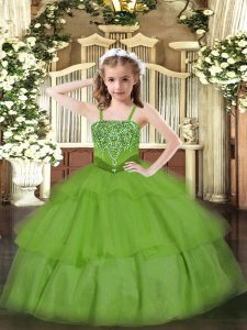 Pretty Ball Gowns Custom Made Pageant Dress Green Straps Organza Sleeveless Floor Length Lace Up