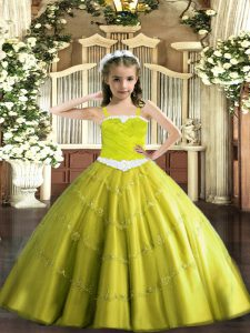 Yellow Green Lace Up Straps Appliques Child Pageant Dress Tulle Sleeveless