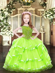Sleeveless Beading and Ruffled Layers Floor Length Little Girl Pageant Gowns