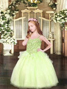 Fantastic Yellow Green Organza Lace Up Spaghetti Straps Sleeveless Floor Length Child Pageant Dress Appliques