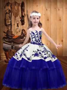 Graceful Embroidery Little Girl Pageant Dress Purple Lace Up Sleeveless Floor Length